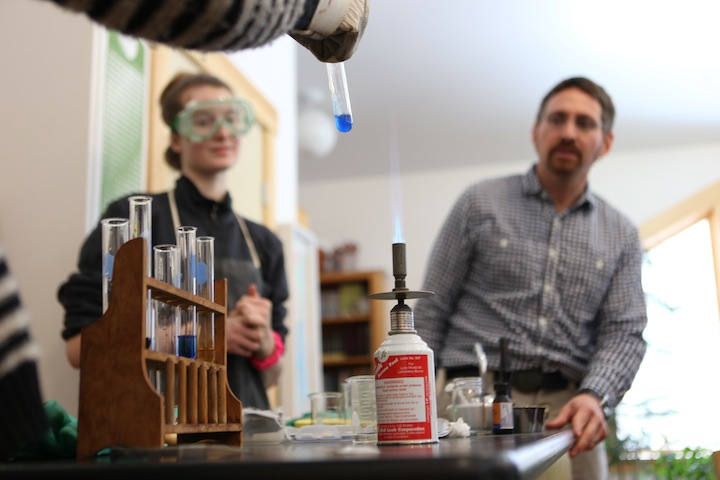 Eighth Grade chemistry demonstration at Ashwood Waldorf School with class teacher Jacob Eichenlaub